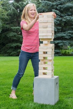 Giant Jenga - This 3-4 foot tall Jenga is a tower of fun!  Up to 4 people can play at a time by removing one block at a time and placing it on top.  The player that causes the tower to fall loses.